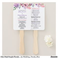 Chic Pink Purple Florals Wedding Program Hand Fan