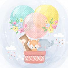 Cute elephant, reindeer and fox flying with air balloon Balloon Illustration, Cute Animal Illustration, Watercolor Illustration, Elephant Illustration, Balloon Animals, Baby Animals, Cute Animals, Cute Baby Elephant, Cute Giraffe