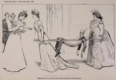 """A satirical illustrated image of, American Gilded Age society members. ~ """"The Social Ladder"""", book by: American illustrator, Charles Dana Gibson, (1867-1944), published in c.1902. Pictured here, one of 72 sketches contained in the book. ~ Illustration captioned: """"Pillsbury does not care for Society, but his wife will not go without him."""" ~ {cwlyons}"""