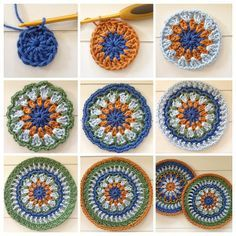Free Crochet Patterns And Knitting Patterns - diy knitting Diy Crochet, Crochet Doilies, Crochet Flowers, Crochet Stitches, Crochet Granny, Crochet Mandala Pattern, Crochet Circles, Crochet Mandela, Knitting Patterns