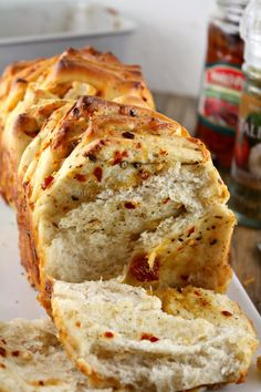 HERB AND CHEESE PULL- APART BREAD WITH SUN DRIED TOMATOES