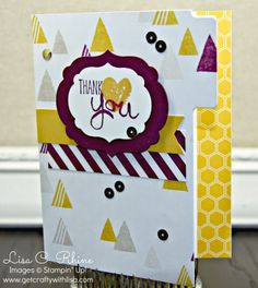 Get Crafty with Lisa:  Work of Art Thank You Card.  This Work of Art Card features Stampin' Up!'s Work of Art Stamp Set, 2014-2016 In Colors Hello Honey and Blackberry Bliss, Moonlight Designer Series Paper Pack, and the File Tabs Edgelits, by Lisa Rhine, www.getcraftywithlisa.com