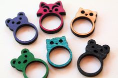 Animal Ring - Spirit Animal Jewelry - Laser Cut Wood Ring - Vintage Colors Sanded Finish- Custom Sizes available