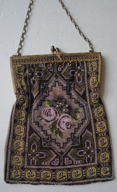 Antique Pink Rose Rug Pattern Glass Beaded Purse
