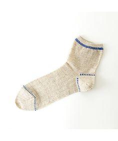 靴下屋(クツシタヤ)の【靴下屋】麻スペックデニムステッチ風ショートソックス(ソックス/靴下) キナリ