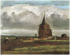 The Old Tower at Nuenen with a Ploughman-1884. Van Gogh
