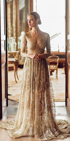 15 Gold Wedding Gowns For Bride Who Wants To Shine ❤️ gold wedding gowns a line with long sleeves plunging neckline nude emilyriggs V Neck Backless Lace Mermaid Cheap Wedding Dresses Online, Cheap Bridal Dresses Black Wedding Guest Dresses, Rose Gold Wedding Dress, Wedding Gown A Line, Gold Wedding Gowns, Vintage Inspired Wedding Dresses, Diy Wedding Dress, Wedding Dresses 2018, Elegant Wedding Dress, Vintage Dresses