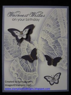 Well here I go again with the butterfly theme! There is just something so elegant about butterflies, don't you agree? I designed this card as a swap for our last demonstrator meeting since the th...