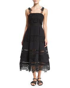Sleeveless+Lace-Trim+Ponte+Dress,+Black+by+Self+Portrait+at+Neiman+Marcus.