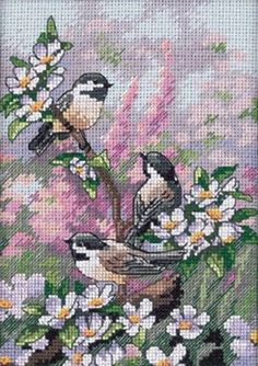 Dimensions Crafts - Chickadees in Spring Counted Cross Stitch Kit # 6884