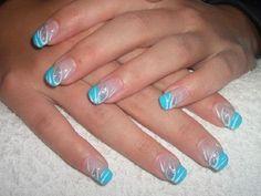 Gelnägel muster galerie Mehr Gold Toe Nails, Aqua Nails, Wow Nails, Glitter Nails, French Nail Art, Blue Nail Designs, Xmas Nails, Spring Nail Art, Nail Patterns