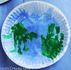 Preschool Crafts for Kids*: Earth Day Handprint Paper Plate Earth Craft