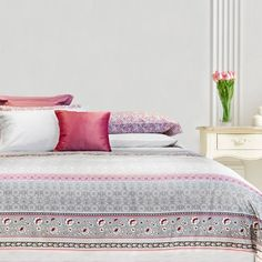 Funda nórdica 100% algodón en blanco, gris y rosa de Bassols - Villalba Interiorismo