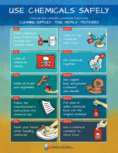 Use Chemicals Safely Poster | Many restaurants and other food establishments use chemicals frequently, especially for cleaning and sanitizing. However, if chemicals are not used or stored safely, they create chemical hazards that can be dangerous to your customers and employees. Hang this poster in your chemical closet and discuss these 10 points with your employees to help keep chemicals out of food and your customers safe. | StateFoodSafety.com