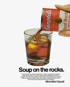 Ah, 1965 - when men were men and people drank beef broth on the rocks. Ron Swanson would approve.