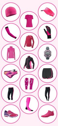 Pink running outfit, clothes, shoes. Running guide: outfit and accessories. Running essentials.This is a beginner's guide to running gear. It uses pink running clothes as an example of what type of clothing is out there for you to wear! And so, here are some ideas for your running outfit! Basic running clothes are listed, and so are running clothes for cold weather. This is a list of fitness gear for beginner runners. #running