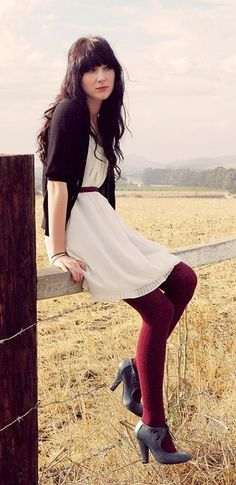 White dress and burgundy tights! Cute! But not the shoes
