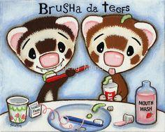 Items similar to Ferret Art ACEO print - Brusha da Teefs - Shelly Mundel Art on Etsy Funny Drawings, Ferrets, Pyrography, Otters, Fur Babies, Applique, Greeting Cards, My Arts, Teddy Bear