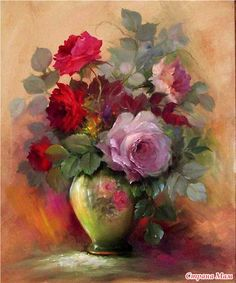 Gary Jenkins Oil Painting of Roses Art Floral, Painting & Drawing, Watercolor Paintings, Floral Paintings, Gary Jenkins, China Painting, Beautiful Paintings, Beautiful Roses, Art Google