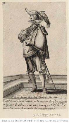 Habit d'un gentilhomme de la maison du Roy passant par la cour du Louvre pour aller trouver Sa Majesté et attendre l'occasion de recevoir ses commandemens : [estampe] - 1