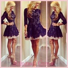 Modest Black Homecoming Short With Lace Long Sleeves Homecoming Gowns 2016 Short Prom Dress  - Thumbnail 1