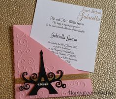 Get free info for quinceanera party - In case the couple like travel, try and incorporate elements of design that reflect this from the planning and decoration process. Invitations and RSVP cards might be printed in old script and boarding passes. Paris Invitations, Sweet Sixteen Invitations, Wedding Invitations, Paris Birthday, 15th Birthday, Birthday Parties, Paris Party, Paris Theme, Thema Paris