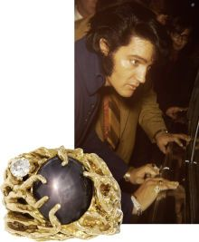 Elvis Presley's Star Sapphire Ring. A large men's 14k yellow gold nugget ring appointed with one oval black star sapphire and one diamond, owned and worn by Elvis Presley.