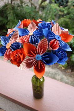 University of Florida themed Bouquet $40 Paper Flowers - Handmade University of Florida themed kusudama flower with orange and blue accent roses