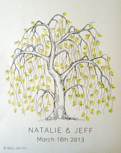 Medium Willow Tree Design, The original hand-drawn wedding guest book fingerprint tree (ink pads sold separately). $80.00, via Etsy.