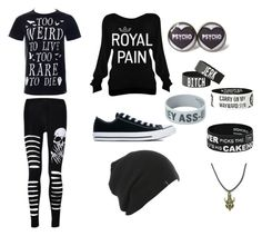 """""""Black"""" by lynnbrekke on Polyvore featuring Converse"""
