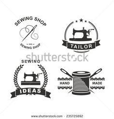Set of tailor labels, emblems and design elements. Tailor shop. Logo - stock vector