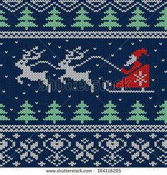 Christmas and New Year knitted seamless pattern or card with Santa in sleigh and deers