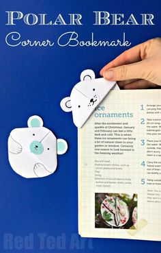 Polar Bear Crafts - make this super cute Paper Polar Bear Corner Bookmark. Love how he pops over the edge of your book to keep your page safe! #Bookmarks #winter #polarbear #wintercrafts #cornerbookmark #papercrafts
