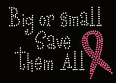 Big or Small Pink Awareness ribbon breast cancer Custom Personalized Rhinestone Transfer Iron On Applique Bling Crystal on Etsy, $14.00