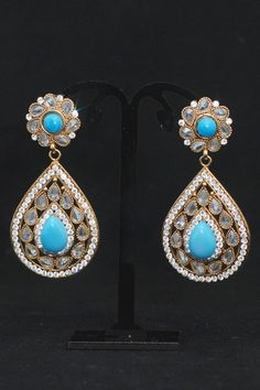 Buy Unique Turqoiuse Stones Gold Earrings   Light Weight Handmade Jewelry