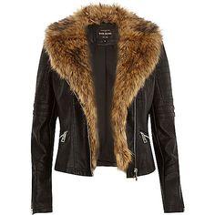 Black leather-look faux fur biker jacket - biker jackets - coats / jackets - women
