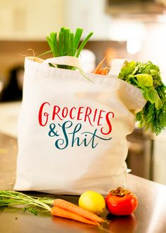 The Original Groceries & Shit Tote Bag Large Sturdy Heavyweight Canvas Grocery Bag by Emily McDowell USD) by emilymcdowellstudio Pam Pam, All I Ever Wanted, Large Bags, Cool Stuff, Stuff To Buy, Hilarious Stuff, Random Stuff, Screen Printing, At Least