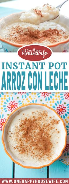 Instant Pot Arroz con Leche is a traditional Hispanic rice pudding that's sweet, rich, and oh, so creamy. A warm bowl of this Instant Pot dessert served with a dash of cinnamon on top is guaranteed to sooth your soul and satisfy your sweet tooth. From Valerie @ One Happy Housewife - onehappyhousewife.com #instantpot #instantpotdesserts