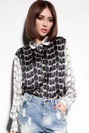 Contrast Color Zebra Print Black Blouse