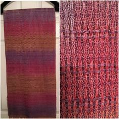 Side by side picture of the finished scarf and a close up of the interesting huck lace pattern. I will definitely be weaving this draft again ❤ #weaving #weaver #weave #yarnlove #crafting #handmade #weaversofinstagram #tennessee #tennesseeinstagram #madeintennessee #makersgonnamake #gatlinburg #knoxville #sevierville #localknoxville #knoxrocks