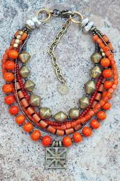 Tangerine Orange Glass and African Brass Shield Multi-Strand Necklace