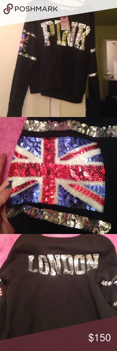 Victoria Secret London fashion show sweatshirt m Full of bling Union Jack flag in sequins on right arm usa flag in sequins on left arm. Nwt no blemishes perfect. Pink in sequins across front. London in sequins across  back. Fleece lined sweatshirt material Sz medium. Simply gorgeous and very rare. Open to REASONABLE offers and 15% off bundles of three or more. Victoria's Secret Sweaters Crew & Scoop Necks