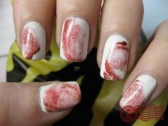 Fingerprint nail art-- Paint your nails white first. Then, you take red nail polish, paint or put some on your finger (not too much so it doesn't look nasty). Roll your finger across your nail (after the white dries of course). Cute Halloween Nails, Halloween Nail Designs, Halloween Nail Art, Halloween Party, Women Halloween, Bloody Halloween, Creepy Halloween, Halloween Horror, Halloween Halloween