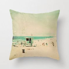 throw pillow cover, lifeguard station pillow, beach cottage deco