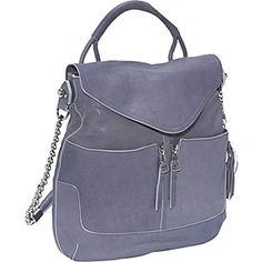 Ooh! La, La!  Olivia Harris Zip Pocket Flap Hobo in French Blue