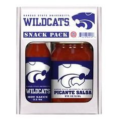 Kansas State Wildcats NCAA Snack Pack (5oz Hot Sauce, 16oz Picante Salsa)  #decor #shopaholic #beautiful #candles #home #missisthings