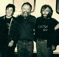 """Rick Danko, Garth Hudson, and Richard Manuel after performing on the short-lived television show Rock 'N' Roll Tonite in 1983. Richard's face is like """"WTF???"""" (Photographer: David Gans)"""