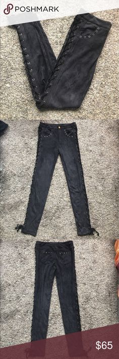 Reservoir Suede Lace Up Pant Lenni the Label 4 BRAND: Lenni the Label SIZE: 4 COLOR: Charcoal CONDITION: NWOT tagged free people for exposure and similar style Free People Jeans Skinny