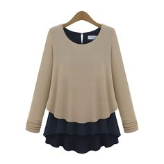 Long Sleeve Chiffon Decorage Knit Blouse