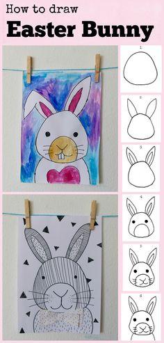 ideas for flower art kindergarten learning Easter Art, Easter Crafts For Kids, Easter Bunny, Easter Drawings, Art Drawings For Kids, Bunny Drawing, Bunny Art, Art Lessons For Kids, Art Lessons Elementary